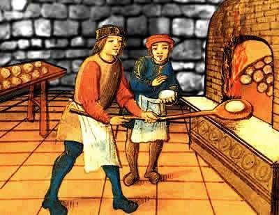 Um artesão e seu aprendiz trabalhando à beira de uma fornalha