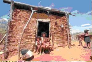 Família que convive com a fome no nordeste do Brasil
