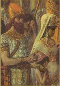 A rainha de Sabá ao lado de seu amado Salomão
