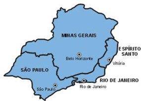 O mapa da região sudeste