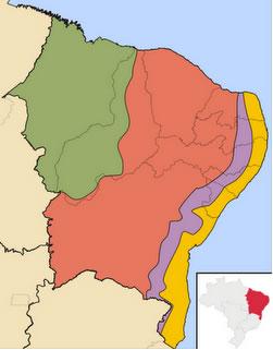 As sub-regiões do Nordeste Verde – Meio-norte; vermelho – Sertão; roxo – Agreste; amarelo – Zona da Mata
