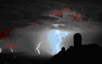 Descargas elétricas durante tempestade