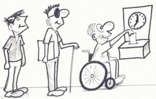 Os portadores de deficiência também têm direito à formação profissional. (Ilustração de Ricardo Ferraz)