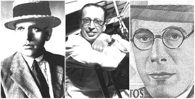 Oswald de Andrade, Manuel Bandeira e Mário de Andrade: Representantes da primeira fase modernista.