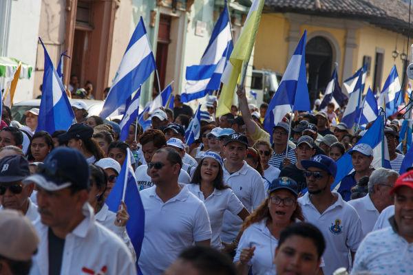 Foto da manifestação organizada pela população nicaraguense contra o governo de Daniel Ortega, em maio de 2018*