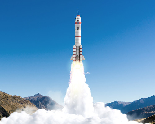 O foguete é uma das naves espaciais desenvolvidas por engenheiros aeroespaciais