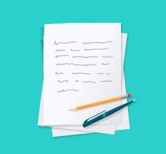 Ilustração de lápis e caneta sob folha de papel escrita