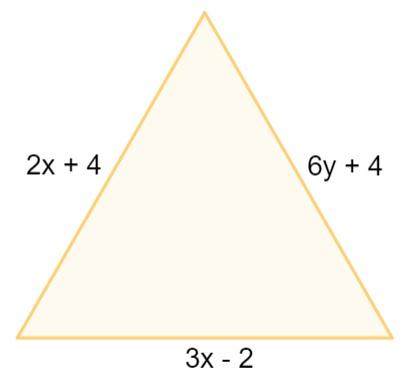 Triângulo equilátero cujos lados são: 3x – 2; 6y + 4; 2x + 4.