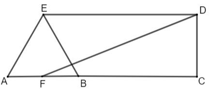 Quadrilátero cortado por segmentos de reta perpendiculares entre si formando diferentes triângulos.