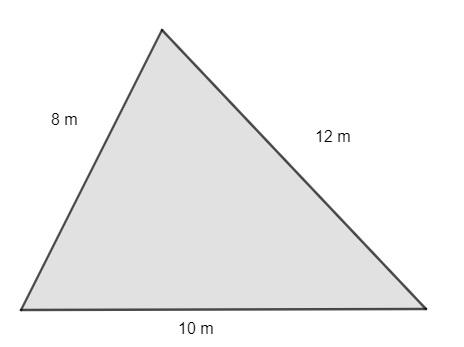 Triângulo escaleno com medidas de lados equivalentes a 8 m, 12 m e 10 m.