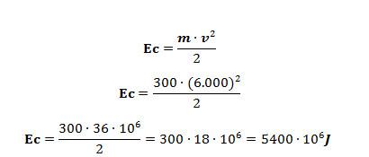 Cálculo do valor da energia cinética das sondas antes da colisão