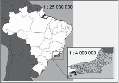 Figura com dois mapas em que o estado do Rio de Janeiro é visto em diferentes escalas.