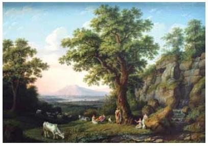 "Obra ""Paisagem italiana"" (1805), do pintor alemão Jakob Philipp Hackert."