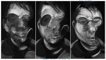 """Óleo sobre tela """"Três estudos para um autorretrato"""", de Francis Bacon."""