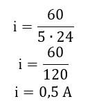 Cálculo de valor de corrente elétrica