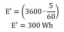 Cálculo do valor gasto de energia por banho em tempo de 5 minutos