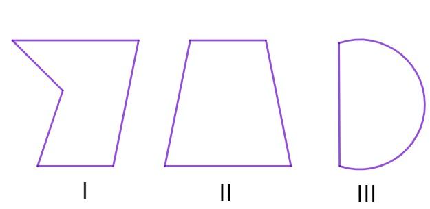 Três formas geométricas com formatos diferentes