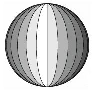 Ilustração de bola esférica composta por 24 faixas iguais