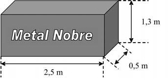 Ilustração de peça com formato de paralelepípedo retangular e suas medidas