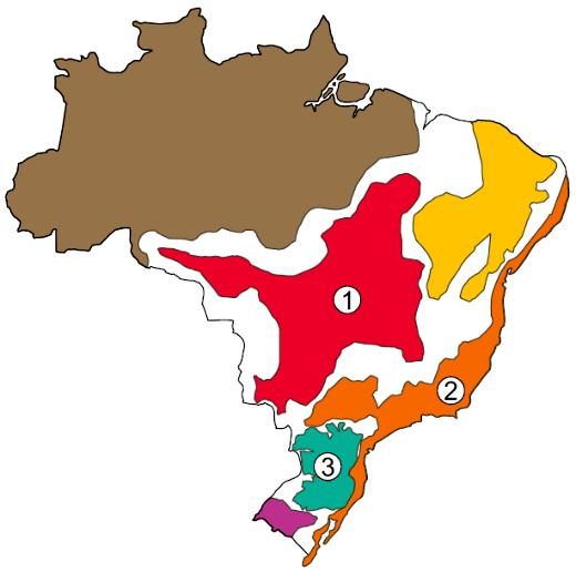 Mapa com delimitação dos domínios morfoclimáticos brasileiros