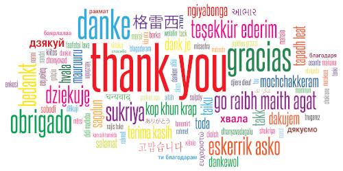 """Nuvem de palavras """"Obrigado"""" em diferentes idiomas"""