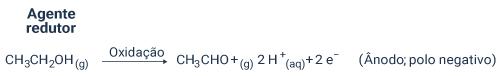 Reação de oxidação no eletrodo A