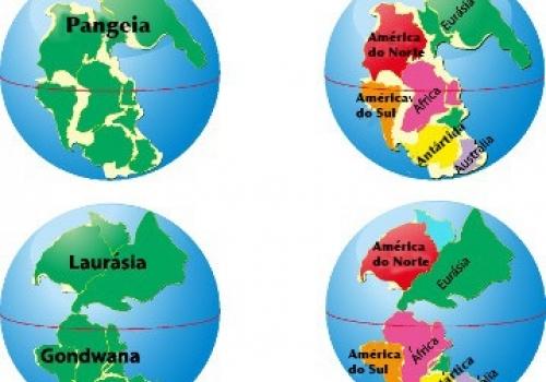 Há aproximadamente 200 milhões de anos não existia separação entre os continentes, ou seja, havia uma única massa continental, a Pangeia.