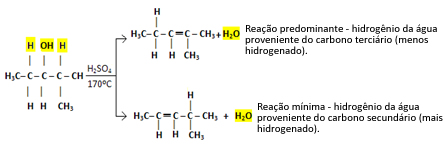 Reação de desidratação intramolecular do 2-metilpentan-3-ol