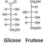 Estruturas de glicose e frutose