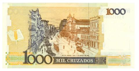 Símbolo das medidas econômicas do Governo Sarney, o Cruzado substituiu o Cruzeiro em 1986 como moeda corrente do Brasil