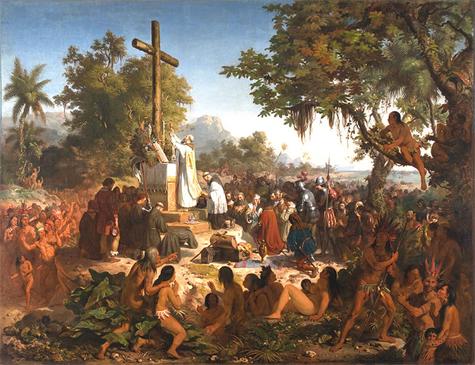O quadro de Victor Meirelles retrata a influência da Igreja Católica desde o início da conquista dos territórios brasileiros