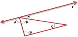 Triângulo ABC, com a reta r paralela ao lado