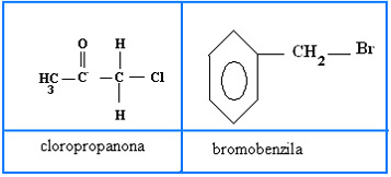 Fórmulas estruturais de substâncias usadas como gases lacrimogênios