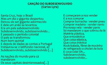 """Trechos da música """"canção do subdesenvolvido"""", de Carlos Lyra"""