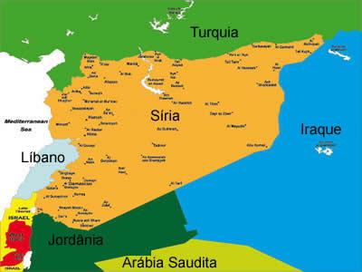Mapa político da Síria, indicando seus vizinhos