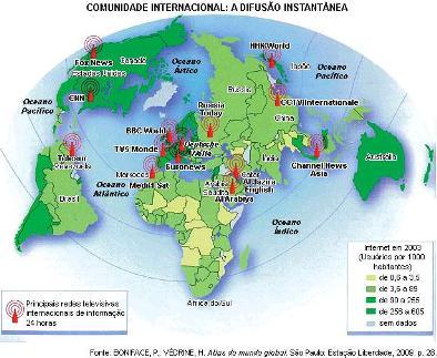 Mapa da difusão da comunicação internacional na era da globalização
