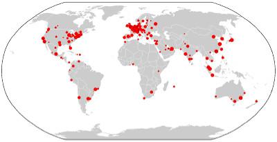 Mapa das cidades globais no mundo