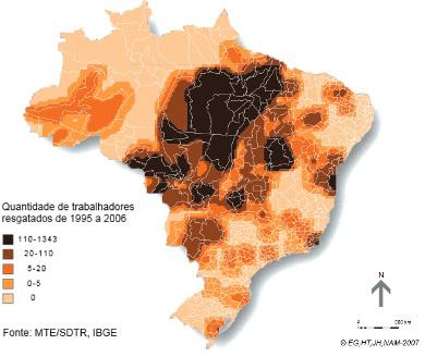 Mapa do número de trabalhadores escravizados resgatados no Brasil de 1995 a 2006