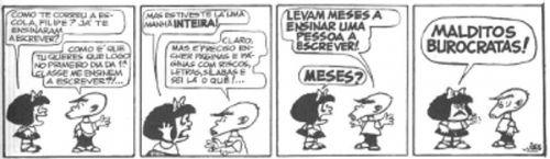 A educação bancária, conceito criado por Paulo Freire, elimina a possibilidade de construção de uma educação dialógica. Tirinha Mafalda, de Quino