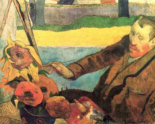 """Há metalinguagem no quadro """"Van Gogh pintando girassóis"""", de Paul Gauguin, pois nela podemos observar o artista retratado no momento da criação"""