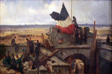 Retirada da bandeira francesa para a colocação da alemã, no Fort Vauves, nas cercanias de Paris, em 29 de janeiro de 1871