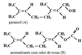 Fórmula do geraniol e de aromatizante em exercício sobre ésteres