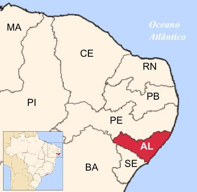 Mapa de localização do estado de Alagoas ¹