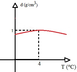 Esse gráfico mostra que a densidade da água é máxima quando a temperatura é 4ºC