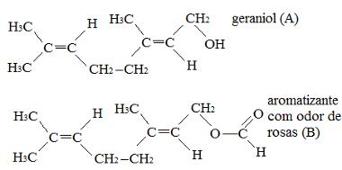 Estruturas do geraniol e de aromatizante que tem odor de rosas