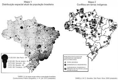 Mapa com a população e as terras indígenas no Brasil