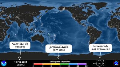 A legenda do mapa indica o tempo, a profundidade e a intensidade dos terremotos