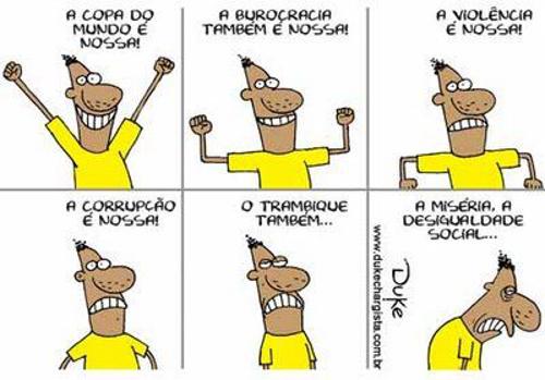 A charge de Duke utiliza as linguagens verbal e não verbal para tecer uma crítica social e política. Disponível em http://dukechargista.com.br/