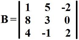 Cálculo do determinante da matriz B através da Regra de Sarrus