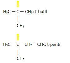 Radicais substituintes com o prefixo terc